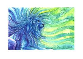 watercolors :) lion colorful drawing blue green painting fantasy spiritual leo zodiac sign