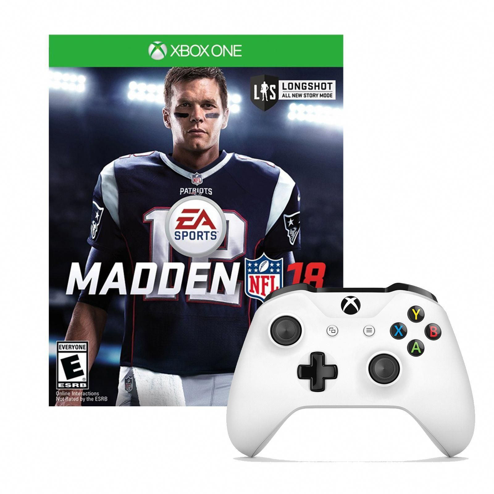 Microsoft Xbox One Controller In White With Madden Nfl18 Xboxoriginal Xbox One Controller Xbox One Xbox