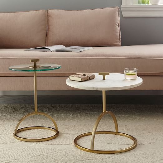 Modernist Handle Nesting Side Table Glass West Elm
