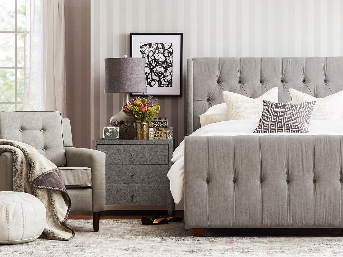 David Tufted Wingback Upholstered Bed, Queen, Silver Grey