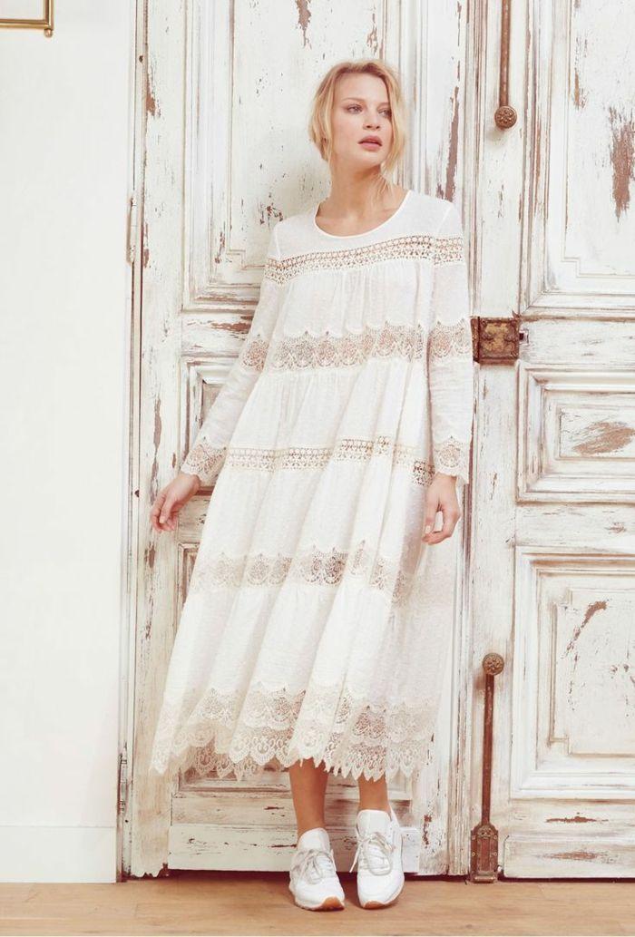 Vestidos blancos ibicencos manga larga