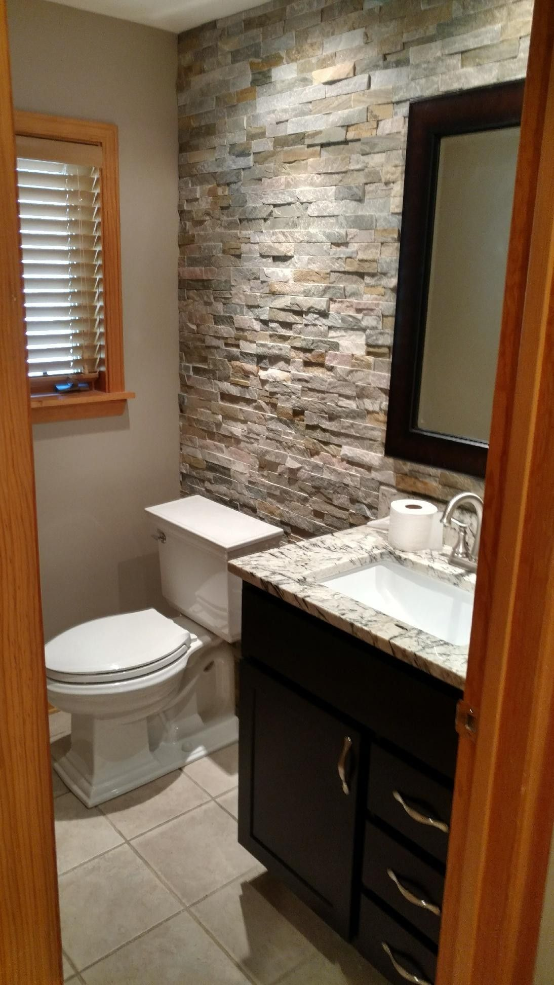 Stone Accent Wall Bathroom My Creations In 2019 Bathroom Bathroom Accent Wall Bathroom Accents