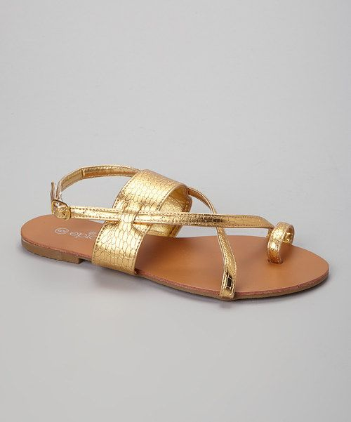Take a look at the Gold Reptile Sandal on #zulily today!