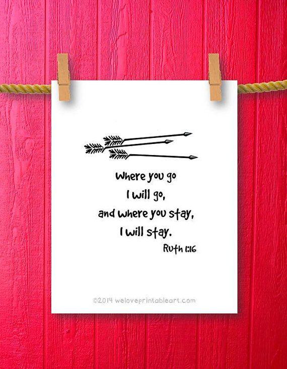 Arrow Quotes Life Enchanting Arrow Art Print Ruth 1 Scripture Printweloveprintableart