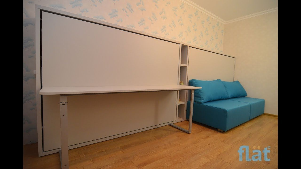 Flat Horizontal Wall Bed With Desks Tables Chiild Room Space Saving Furniture Wall Bed Bed Desk