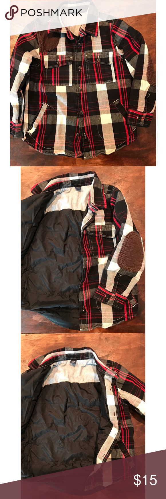 Flannel jacket with elbow patches  Gap boys flannel jacket  Handsome and warm lightly lined flannel