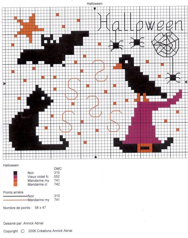 Cross stitch Halloween cat and hat | Bordado | Punto de cruz, Punto ...