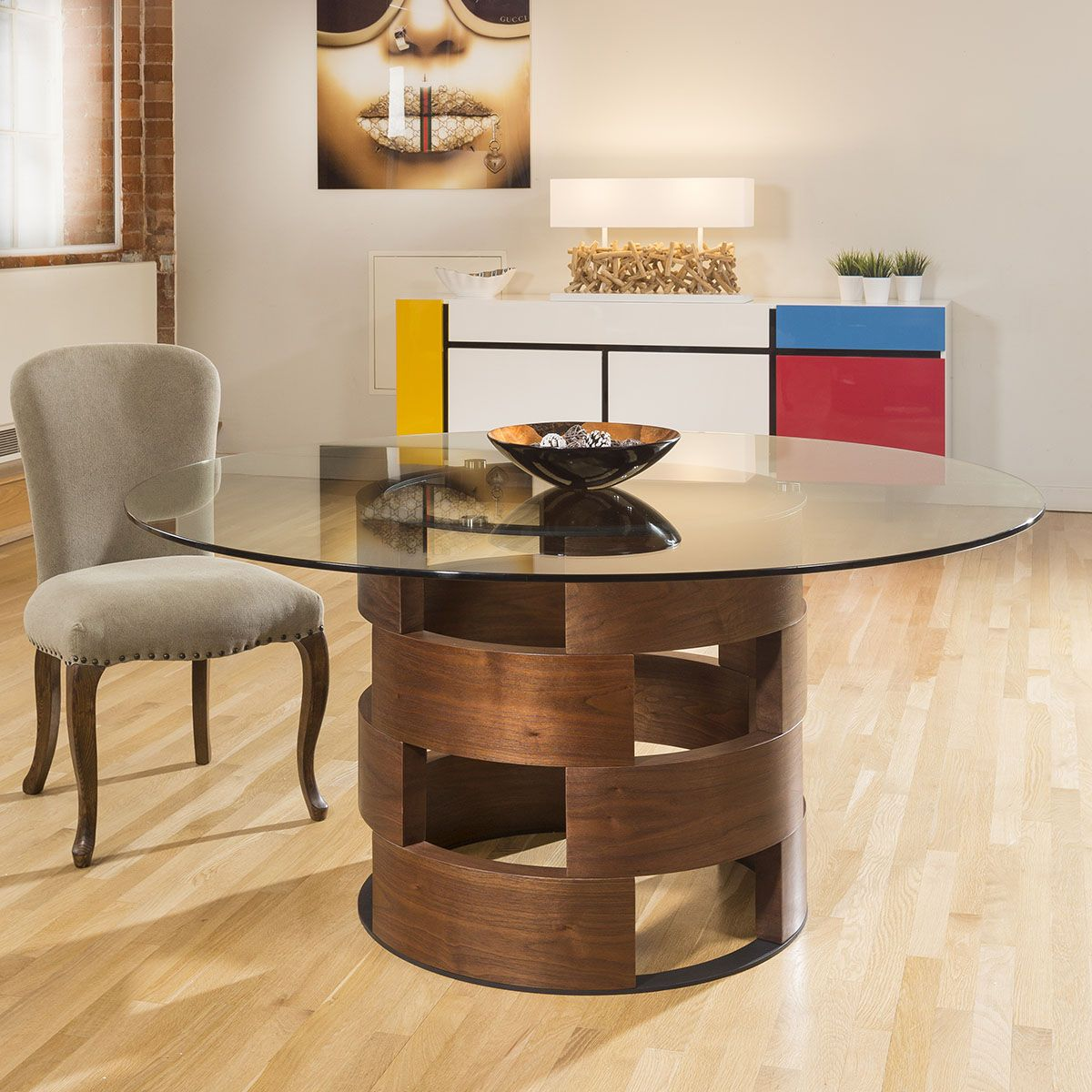 Modern Funky Large Round Walnut And Clear Glass Dining Table