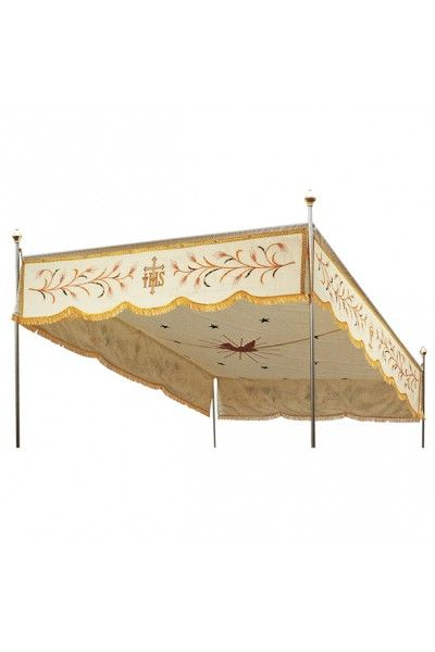 Online sale of processional canopies with machine embroidery with golden spuns and silk. Online sale of processional canopies with machine embroidery, made in Italy.