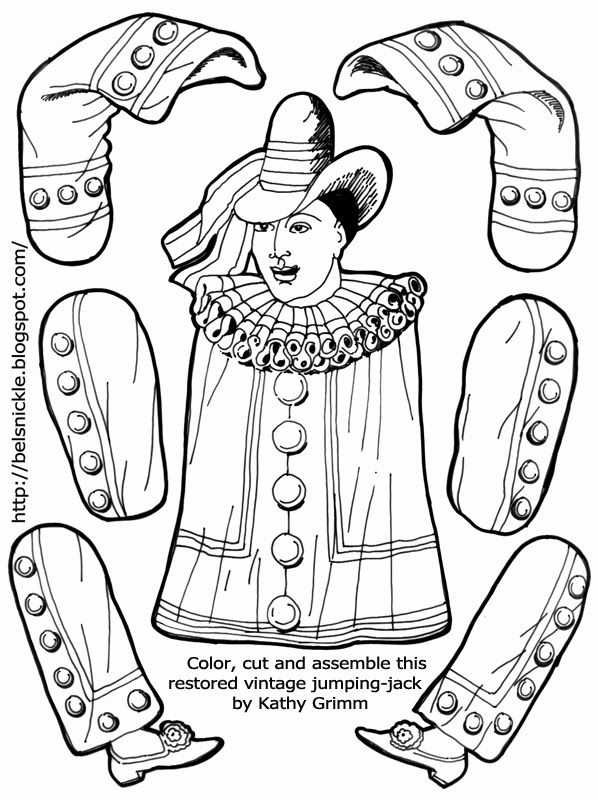 A coloring page pattern for crafting of a french pierrot paperdolls jumpingjacks 3 pinterest - Coloriage pierrot ...