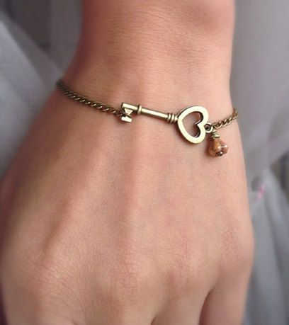 Copper Chain With Skeleton Heart Key Charm Bead Bracelet Wedding Day Anniversary