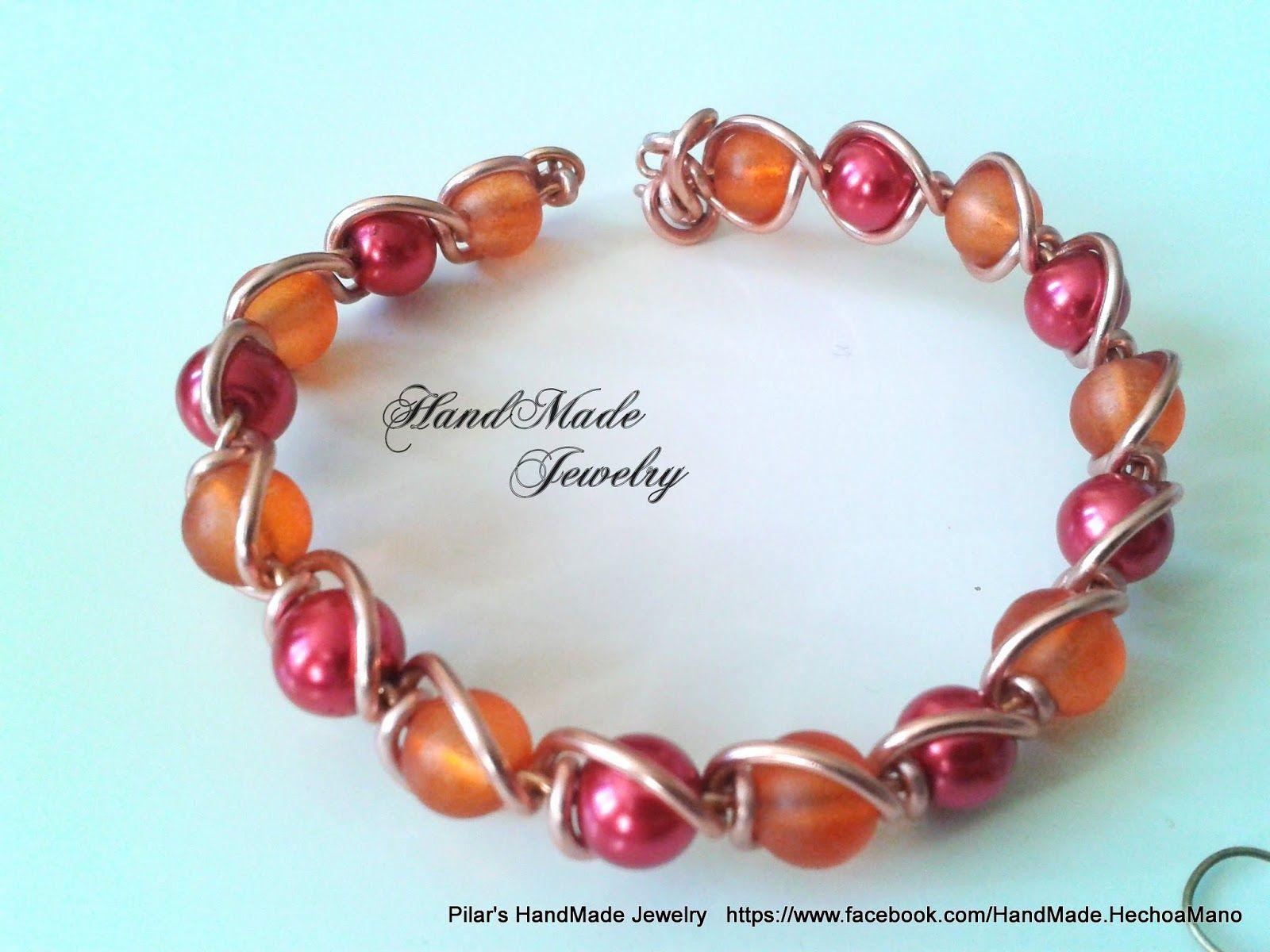 Bisuteria Hecho a Mano - HadMade Jewelry: Set Bracelet and Earrings with wire and crystal pearls - Conjunto de pulsera y Pendientes con perlas de cristal y alambre