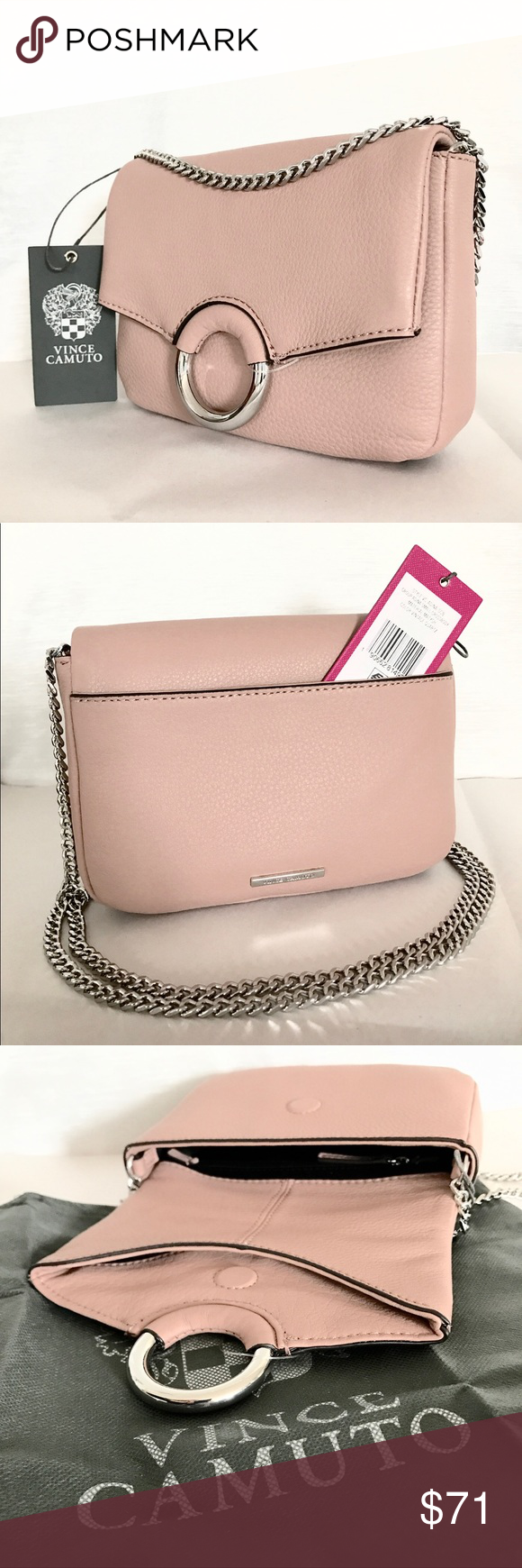 c35cbdb326b6 New Vince Camuto Adina chain crossbody Super chic Vince Camuto Leather Adina  chained crossbody bag in a vintage quartz color which is a grayish pink.