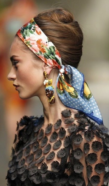 7412894ea Runway inspiration to wearing a silk scarf as a headband. | The ...