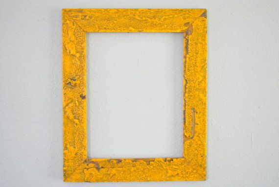 Vibrant Yellow 11 x 14 Reclaimed Wood Frame, Re-purposed