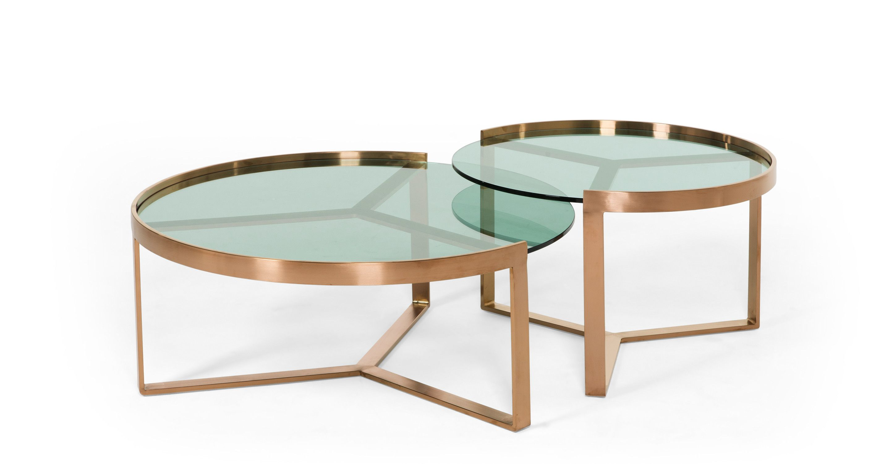 Aula Nesting Coffee Table Brushed Copper And Green Glass Copper