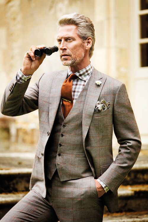Men's Brown Plaid Three Piece Suit, White and Brown Gingham Dress ...
