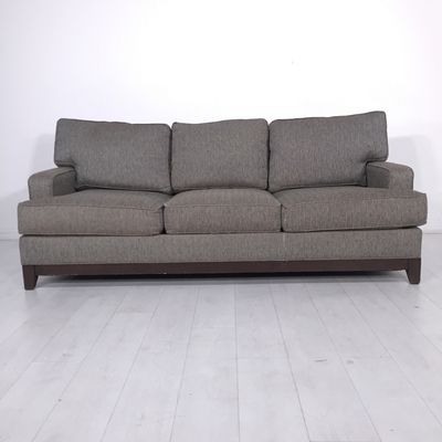 Chauncey Sofa. - Plush three-seat wood-framed couch in brown tweedy upholstery- Moderate scuffing, shedding, and wear associated with normal use as pictured- Seat height: 19""