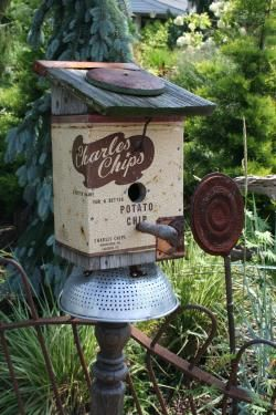 Vintage tin birdhouse