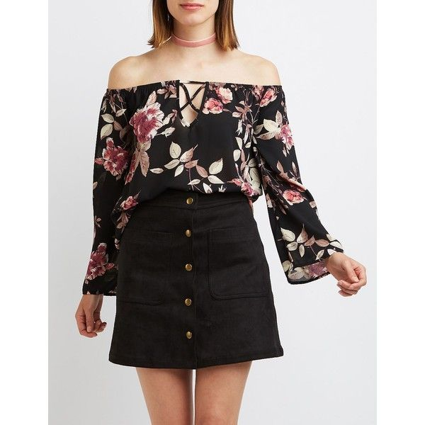 Charlotte Russe Floral Caged Off-The-Shoulder Top ($22) ❤ liked on Polyvore featuring tops, blouses, black combo, off the shoulder peasant tops, off shoulder peasant top, off the shoulder blouse, bell sleeve tops and bell sleeve blouse