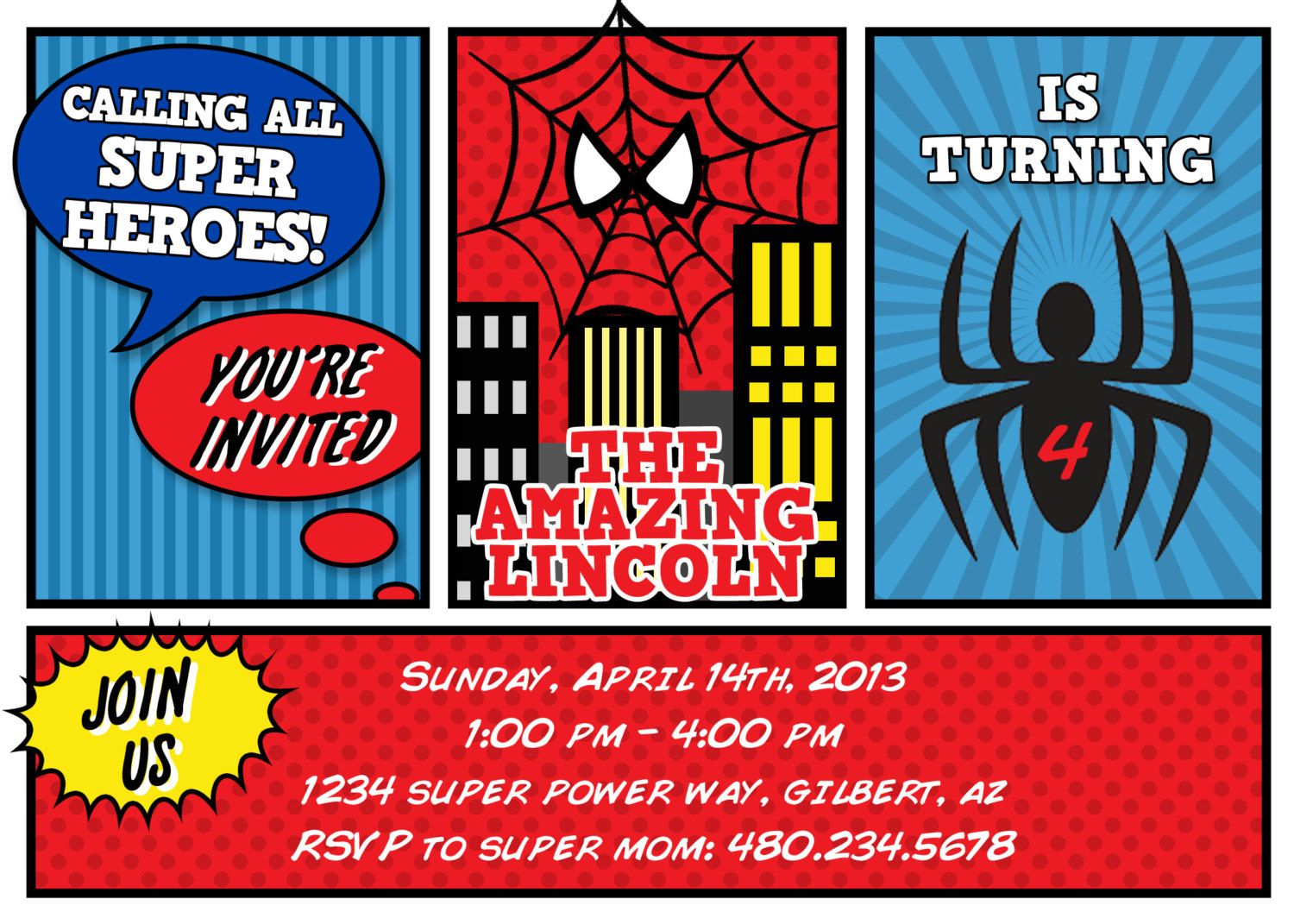 Printable Party Spiderman Inspired Birthday Invitation Petite Party Studio 1 Spiderman Invitation Spiderman Birthday Birthday Party Invitations Printable