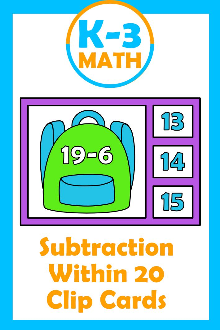 Photo of Subtraction Within 20 Clip Cards