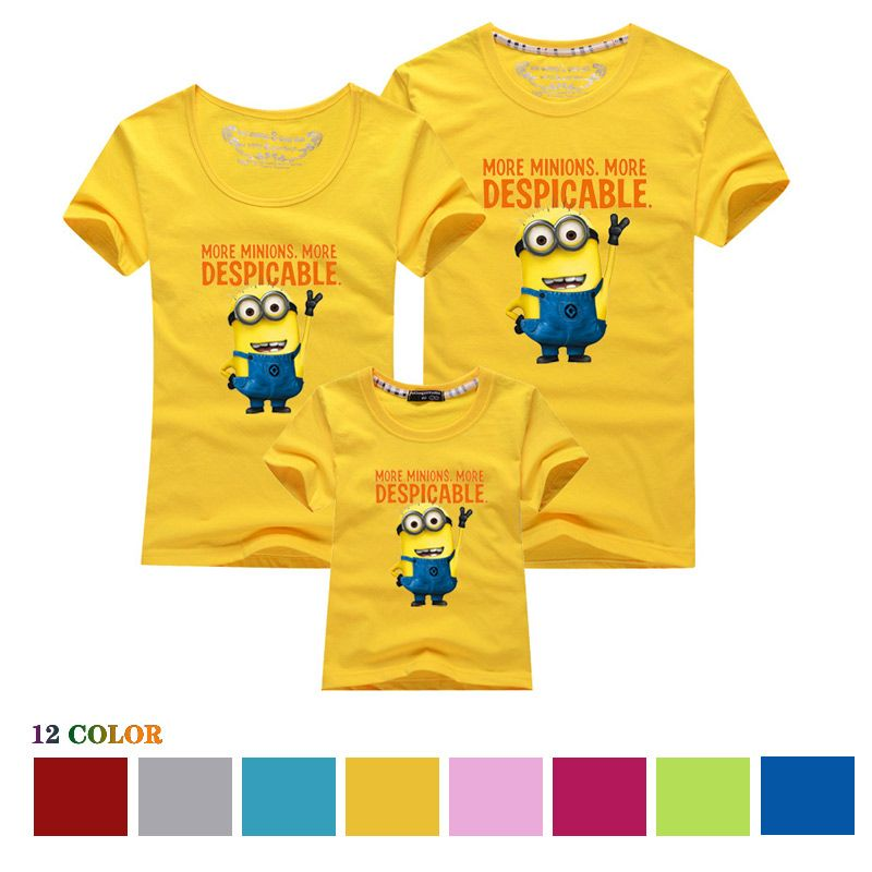 Minion Family Clothes Mother Father Daughter Set Cotton T Shirts Despicable Me Minions Matching Clothe
