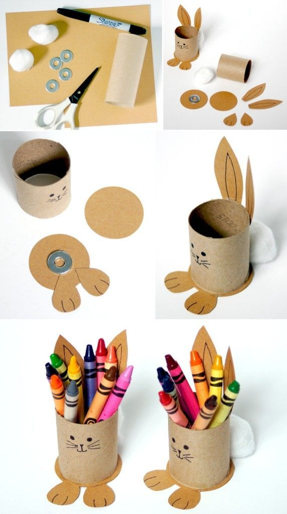Photo of Upcycled Bunny Crayon Holders for the Easter kids' table!