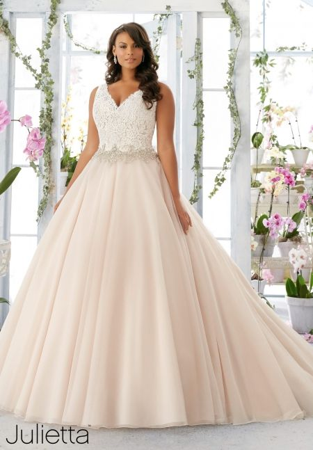 Plus Size Wedding Dress 3198 Embroidered Lace Bodice Edged With