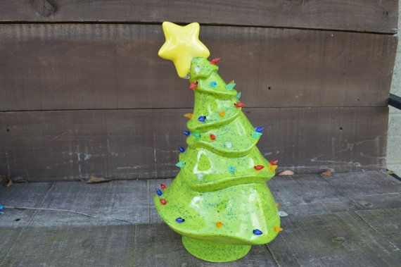 Whimsical Ceramic Christmas Tree With Lights By Inaglaze On Etsy