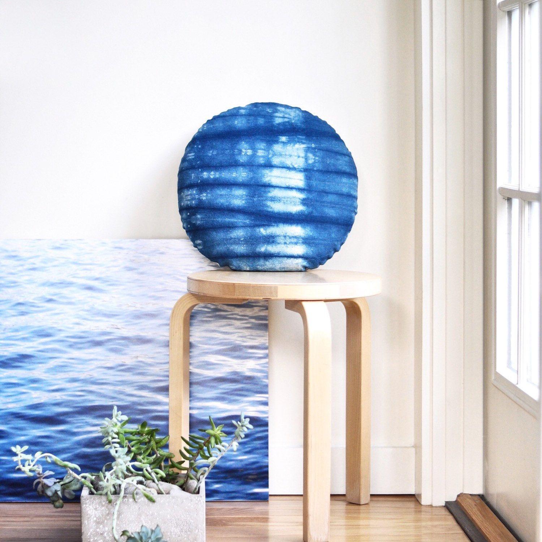 "Shibori Indigo Round Pillow, Loose Stripe Pattern, 16"" Hand Dyed Linen Cushion"