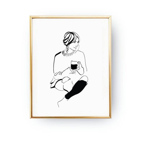 Woman With Coffee Print, Home Outfit, Fashion Poster, Illustration Poster, Cosy Poster, Fashion Illustration, Bedroom Decor, Wardrobe Art is part of Cosy home Illustration - LovelyPosters  Frame is not included to our works  home decor, wall art, poster art, wall decor, inspirational print, minimal design, quote poster print, print art, minimalist poster, typographic poster, illustration print, mottos, typography art, scandinavian design, abstract print, fashion print, gift idea  © Original artwork by Lovely Posters  All designs, illustrations, patterns are copyrighted