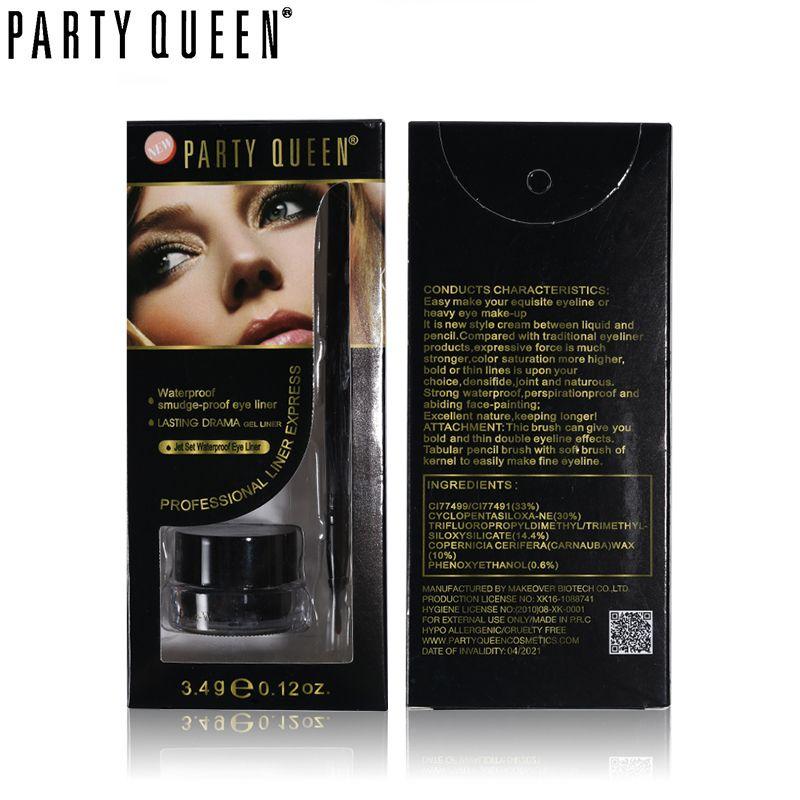 Party Queen Negro y Marrón Impermeable a prueba de Manchas Crema Delineador de ojos Maquillaje de Ojos Glamour Duradera Delineador en Gel de Drama Conjunto Con cepillo