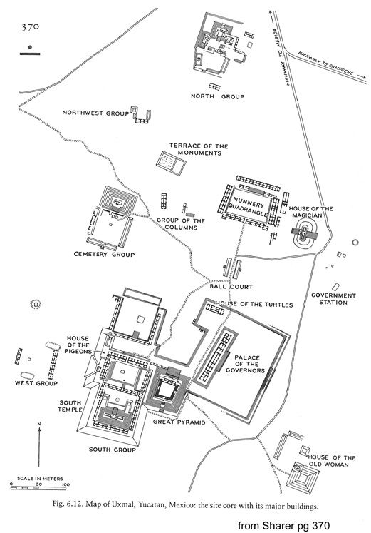 Map of the Mayan Temple Uxmal  Landons Maps  Pinterest  Temple
