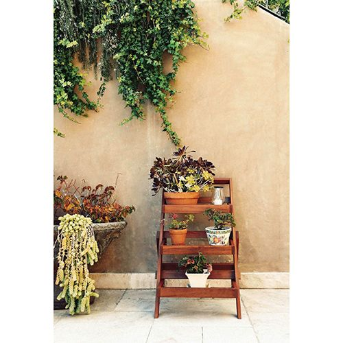 Eucalyptus Hardwood -Tier Plant Stand - Natural Wood  Patio