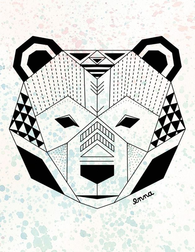 Image result for geometric bear greeting card