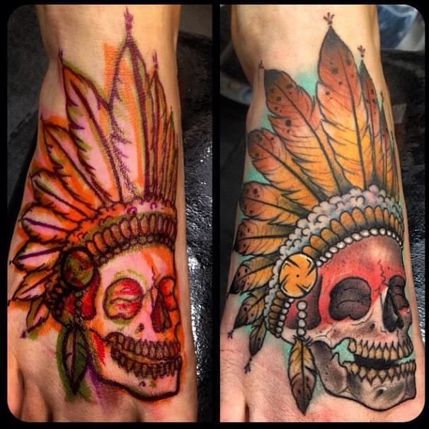018c50167 Tattoo | Indian tattoo skull art | Tattoos,Foot tattoos ja Tattoo ...