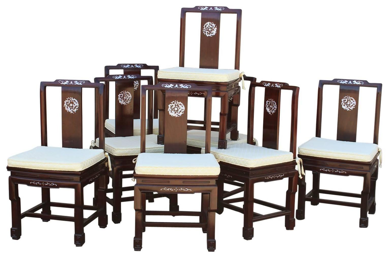 Chinese Rosewood Mother Of Pearl Chairs Set Of 8
