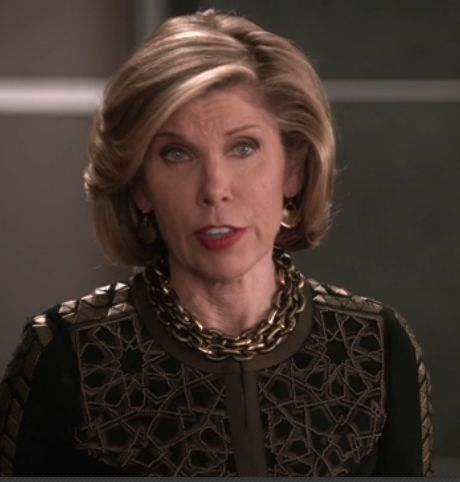The Good Wife - Deconstruction episode. #PONO Alchemy Bike Chain Necklace. #madeinitaly #Diane #ChristineBaranski