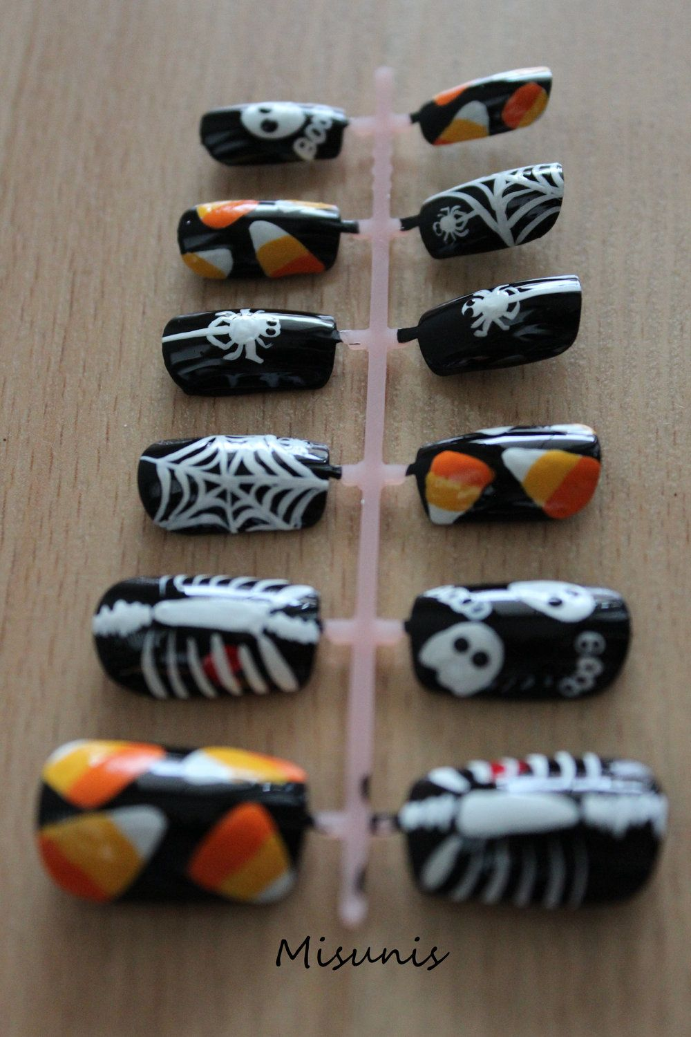 Halloween False Nails with Candy Corn, Spiders, Spider ...