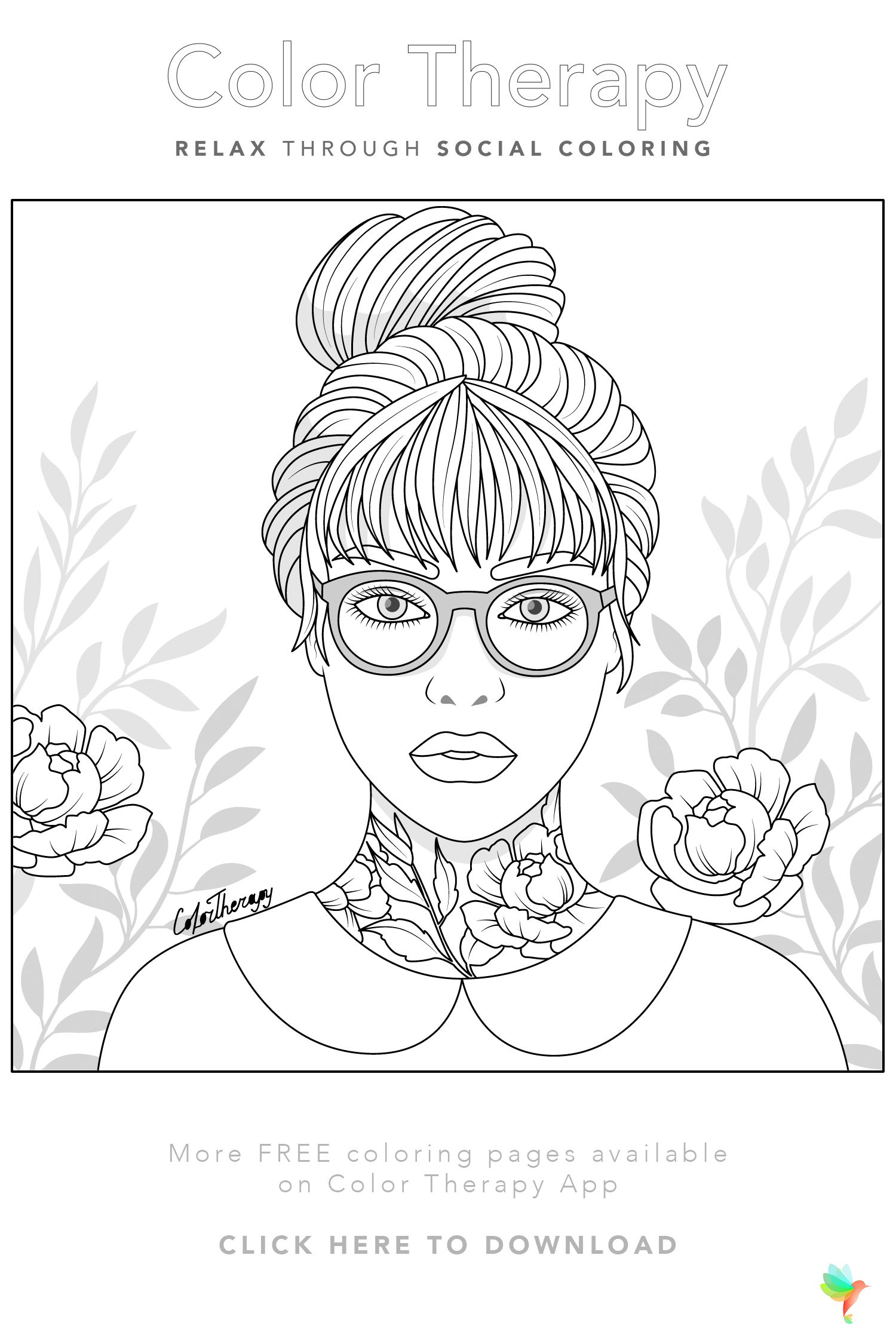 Color Therapy Gift Of The Day Free Coloring Template Coloring Books Cute Coloring Pages People Coloring Pages