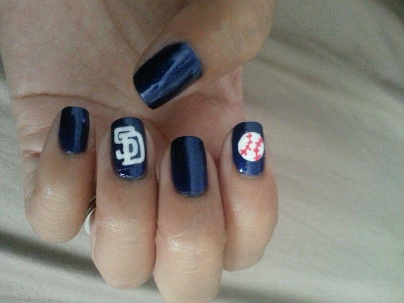 San Diego Padres nail art, baseball nails. | Sports outfits & Nails ...