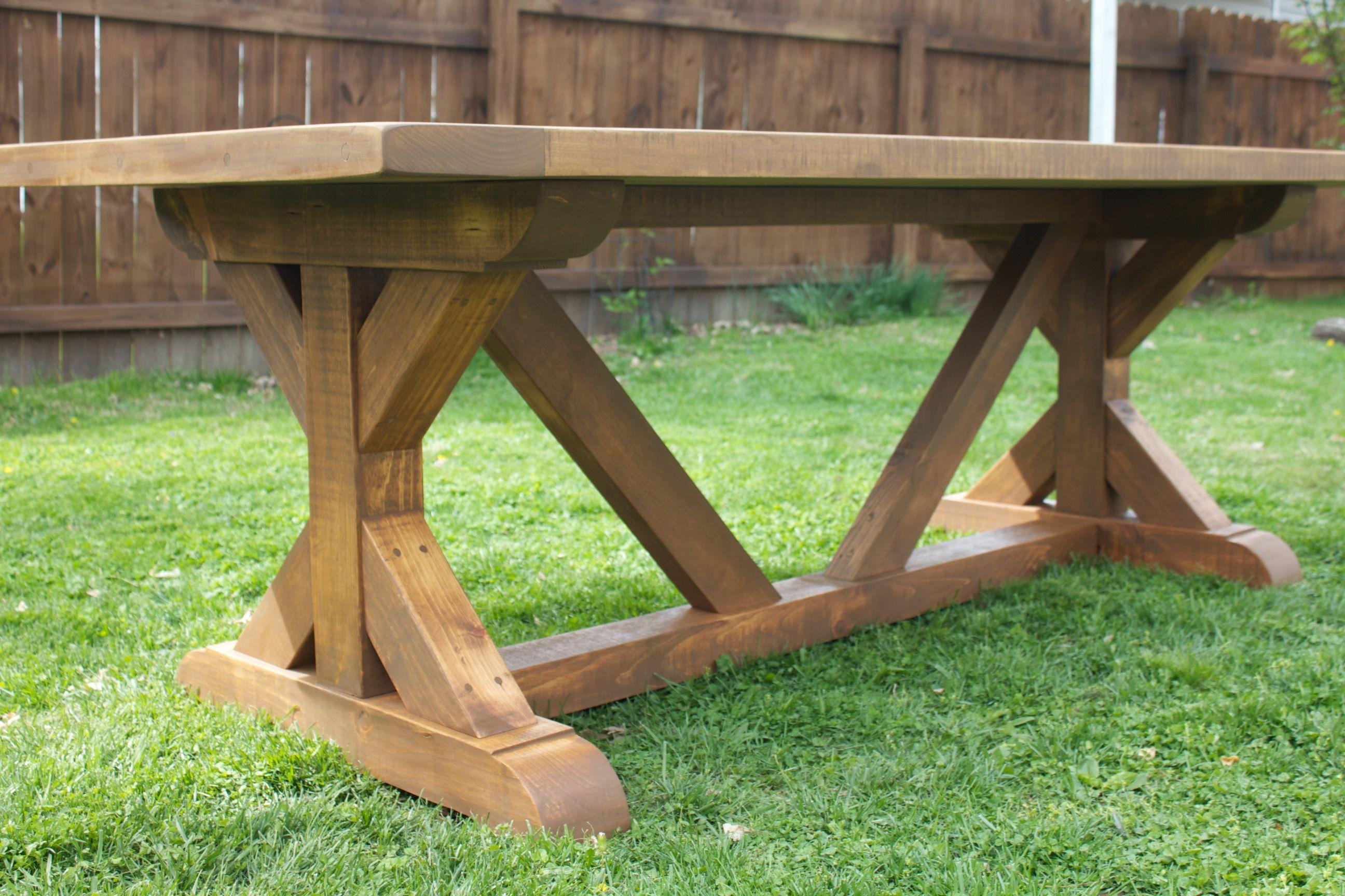 Custom built x base farm table farmhouse table plans