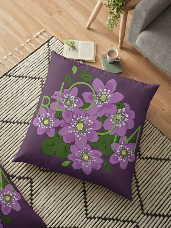 Bloom. Hepatica Flowers Floor Pillows | Home Decor. Art on Stuff ...