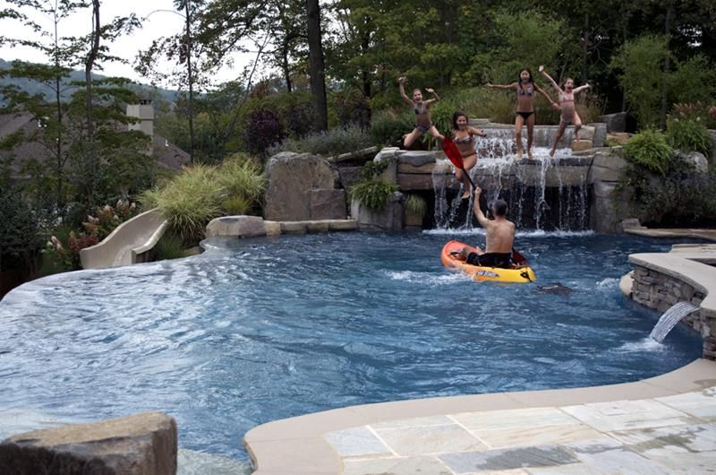 23 Visually Interesting In Ground Pool Designs For Your Home Swimming Pool Waterfall Custom Swimming Pool Backyard Pool