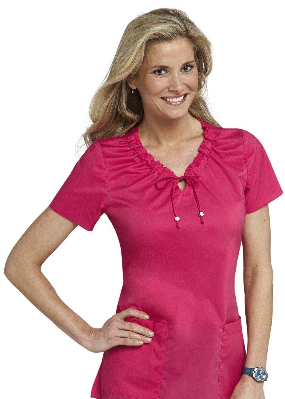 New color for summer Flamingo! Koi Betsey v-neck scrub top ...