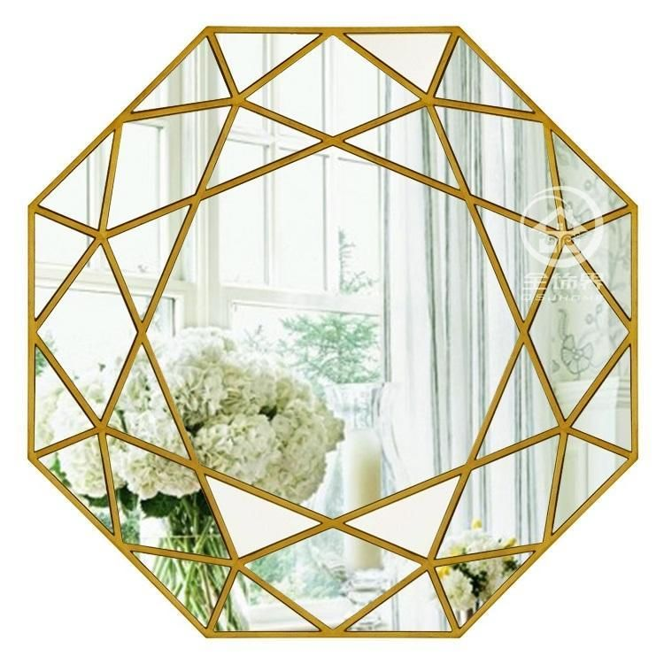 Modern Round Mirror Glass Console Mirror Geometric Wall Mirror Decorative Mirrored Wall Art Mirror Wall Art Mirror Wall Decor Mirror Wall