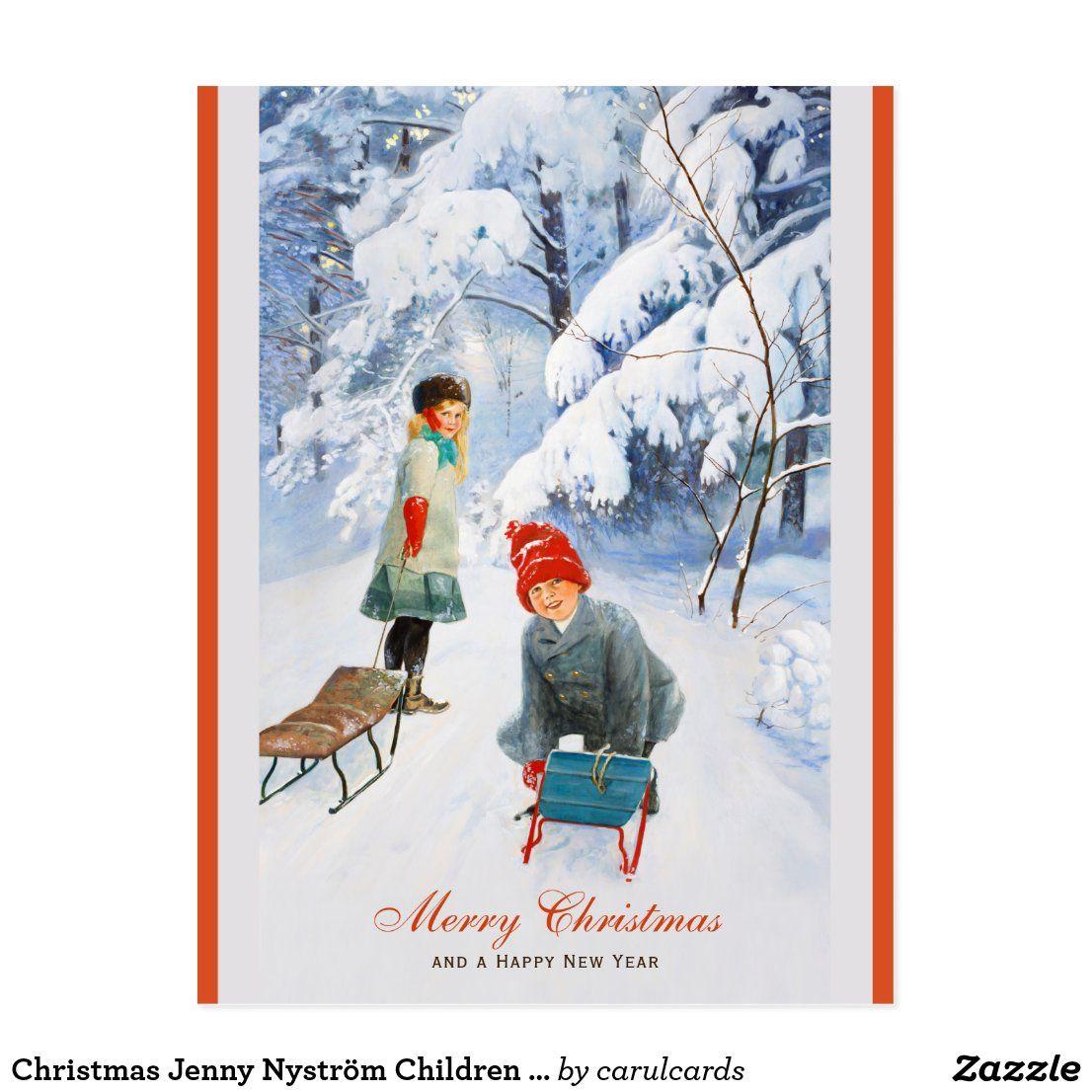 Christmas Jenny Nyström Children sledding CC0928 Postcard
