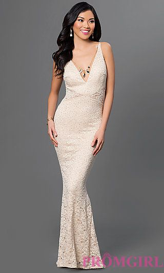 1253d027c7f7 Sleeveless Floor Length Lace Dress with Necklace at PromGirl.com ...