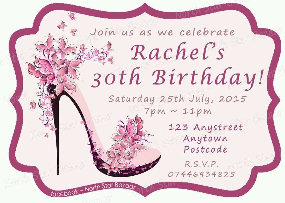 24 Personalised magnetic Butterfly shoe birthday party invitations ...